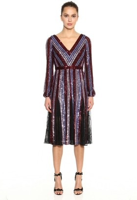Marchesa Notte Long Sleeve Striped Sequin Cocktail Dress