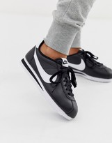 Nike cortez leather sneakers in black