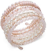 INC International Concepts Rose Gold-Tone Beaded Coil Bracelet, Created for Macy's