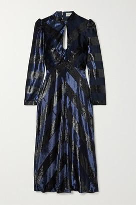 Rebecca Vallance Maison Open-back Striped Metallic Velvet Midi Dress - Navy