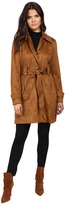 Jessica Simpson Sueded Rain Trench with Stitching Detail Single Breasted Belted Women's Coat
