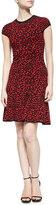 Michael Kors Spotted Stretch-Knit Flounce Dress