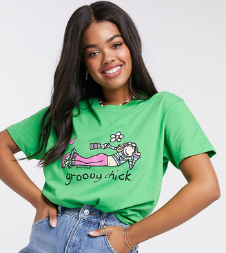 Daisy Street relaxed t-shirt with groovy chick print