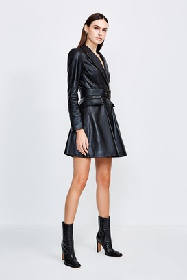 Karen Millen Leather Fluted Hem Mac