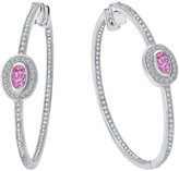 Lafonn Platinum Plated Sterling Silver Lab-Grown Pink Sapphire & Simulated Diamond Detail Oval Hoop Earrings