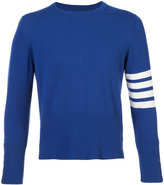 Thom Browne Short Crewneck Pullover With 4-Bar Stripe In Blue Cashmere