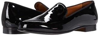 Massimo Matteo Formal Velvet Loafer (Black Patent) Men's Shoes
