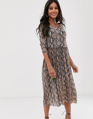 Vila snake print mesh dress