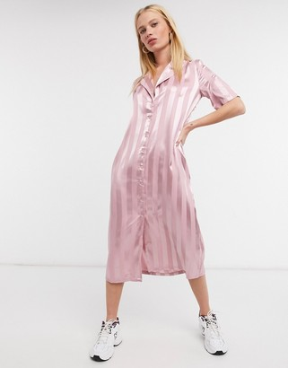 Urban Threads stripe satin midi shirt dress