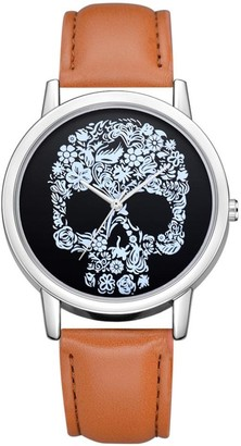 Festiday Women Quartz Watches Fashion Jewelry Skull Design Faux Leather Band Watches Analog Quartz Wrist Watches Lady Watches Sale Clearance Female Watches Round Dial Case Watch Gift (Brown)