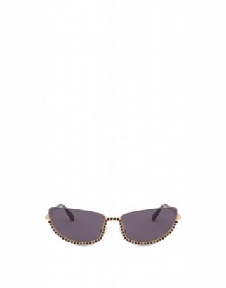 Moschino Sunglasses Half-cat Eye With Rhinestones Woman Gold Size Single Size