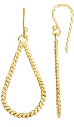 Primavera 24k Gold Over Silver Twisted Teardrop Earrings