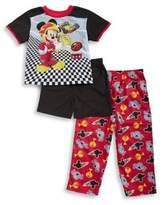 AME Sleepwear Little Boy's Three-Piece Racecar Mickey Pajama Set