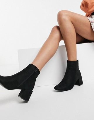 New Look suedette block heeled boot in black
