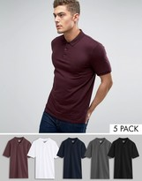 Asos 5 Pack Polo Shirt In White/Black/Charcoal marl/Oxblood/Navy SAVE