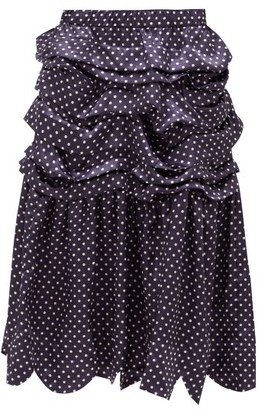 COMME DES GARÇONS GIRL Tiered Polka-dot Satin Midi Skirt - Navy White