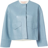 Marni collarless cropped jacket - women - Lamb Skin - 36