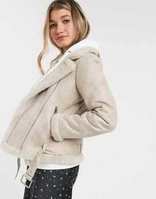 Abercrombie & Fitch sherpa biker jacket-Cream