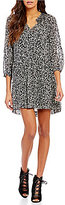 Sanctuary Raquel Smocked Boat Neck Long Sleeve Printed Boho Tiered Dress