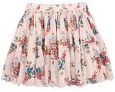 Ruby & Bloom Floral Frayed Ruffle Hem Skirt