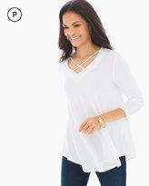 Chico's Caged Knit Top in Alabaster