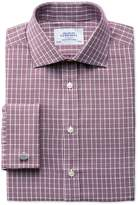 Charles Tyrwhitt Slim Fit Prince Of Wales Basketweave Berry Cotton Dress Casual Shirt French Cuff Size 14.5/32