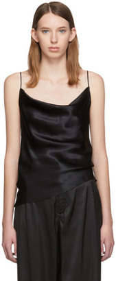 Marques Almeida Black Silk Bias Slip Top