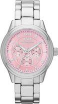Liz Claiborne Womens Silver-Tone Pink Watch