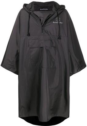 Acne Studios Logo-Print Poncho-Style Raincoat