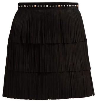 Miu Miu Fringed Suede Mini Skirt - Black