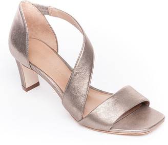 Bernardo Camille Metallic Leather Crossover Strap Sandals