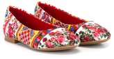 Dolce & Gabbana rose print ballerinas - kids - Cotton/Leather/Viscose/rubber - 29