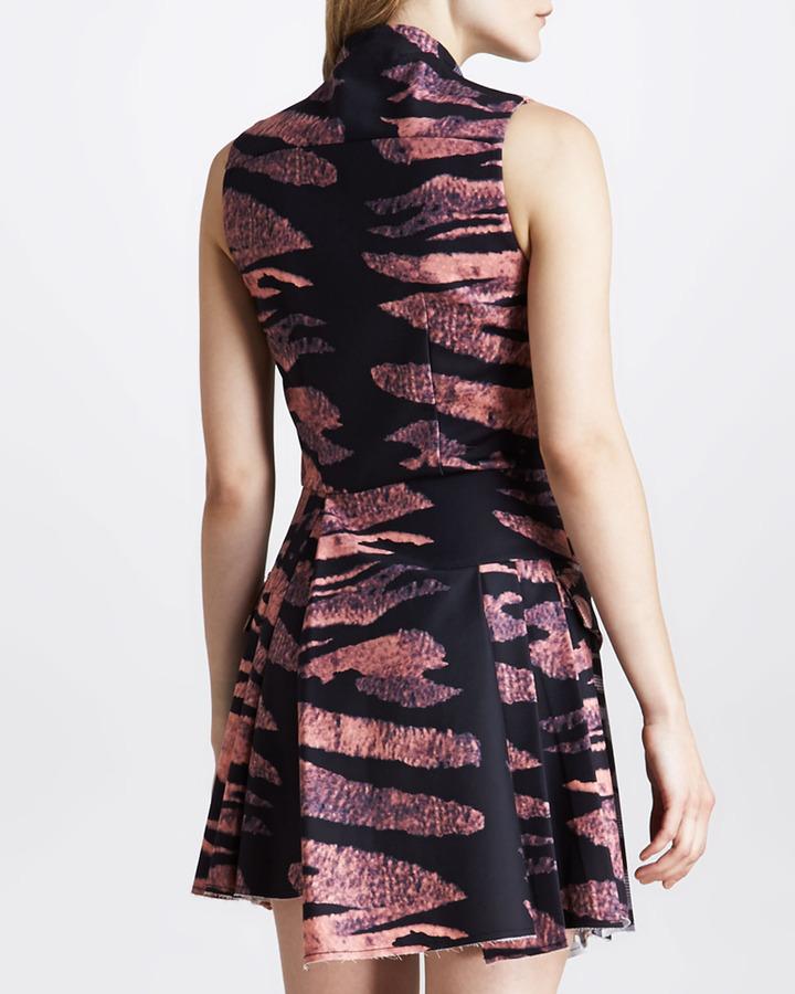 McQ Tiger-Print Asymmetric Zip-Front Dress