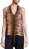 A.L.C. Fields Silk Tiger-Print Tie-Neck Top