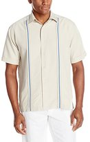 Cubavera Men's Short Sleeve Textured Contrast Woven Shirt