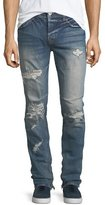Hudson Vaughn Skinny Ankle-Zip Destructed Jeans in Killz