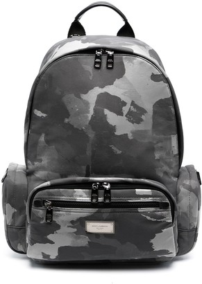 Dolce & Gabbana Logo-Plaque Camouflage-Print Backpack