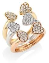 Hueb Hearts Diamond& 18K Tri-Tone Gold Open Ring
