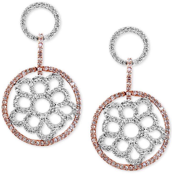 Effy Diamond Openwork Drop Earrings (1-1/10 ct. t.w.) in 14k White and Rose Gold