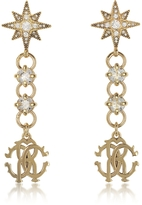 Roberto Cavalli Icon Golden Star Earrings w/Crystals