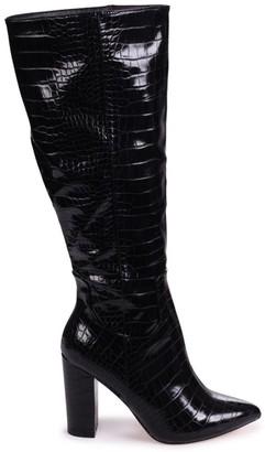 Linzi DIONNE - Black Croc Cowboy Style Block Heel Long Boot