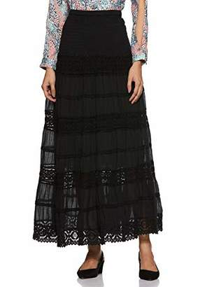 """ANGLE THREADS Women's Seven Tire Long Embroidered Maxi Skirt - Elastic Waistband 37"""" Long - Colored Cotton"""