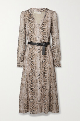 MICHAEL Michael Kors Kate Belted Snake-print Crepe Midi Dress - Animal print