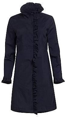 Jane Post Women's Crunch Ruffle Front Trench Coat