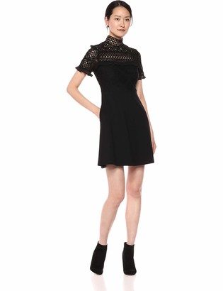 Nicole Miller Women's Short Sleeve Lace and Ruffle Fit and Flare Dress