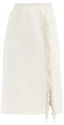 Giambattista Valli Pearl-embellished Cotton-blend Tweed Pencil Skirt - White