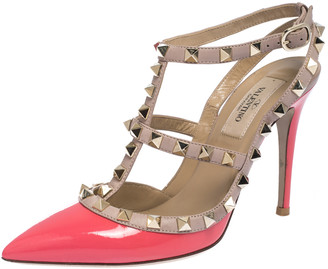 Valentino Raspberry Pink/Beige Patent And Leather Rockstud Pointed Toe Sandals Size 36