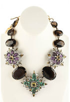 Iradj Moini Aged Gold Tone Amethyst Smoky Crystal Flower Statement Necklace