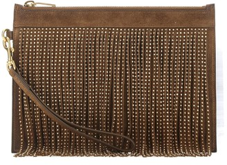 Saint Laurent Embellished Suede Clutch Bag
