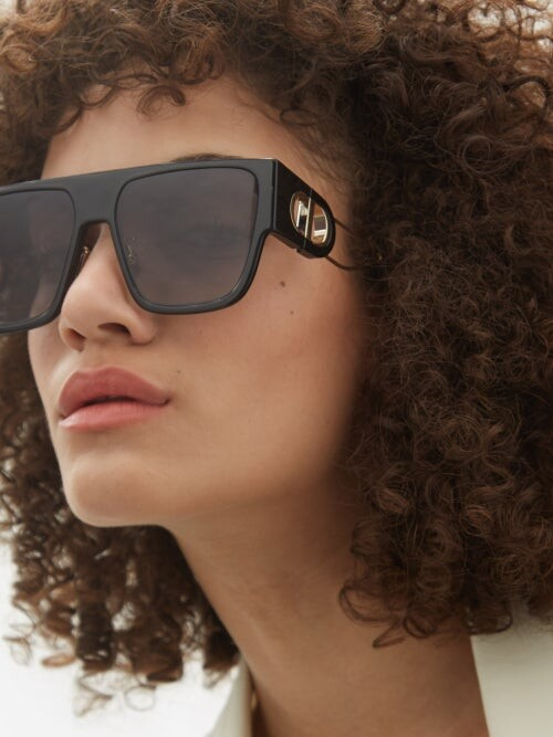Thumbnail for your product : Christian Dior 30montaigne D-frame Acetate And Metal Sunglasses - Black